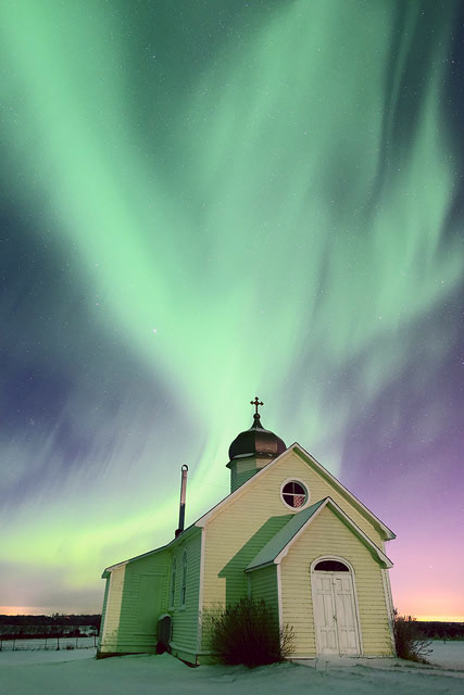 ukrainian church, aurora, aurora borealis, northern lights, Alberta, winter, snow, Dan Jurak,