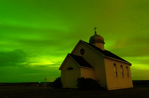 Prairie Church and Aurora