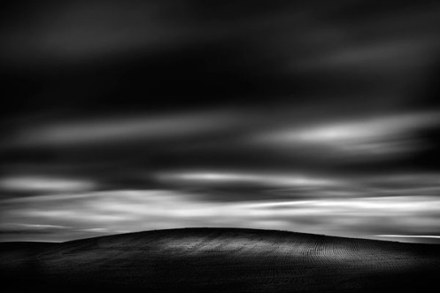 Dan Jurak, long exposure, black and white, fine art, landscape, prairie, clouds, stormy, dark,