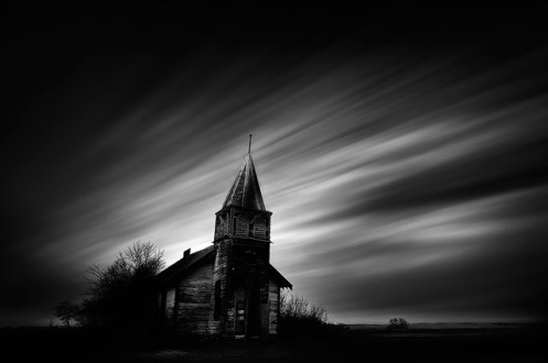 Dan Jurak, fine art, fineart, long exposure, blacka and white, church, darkness, Alberta, landscape, Brush Hill, church