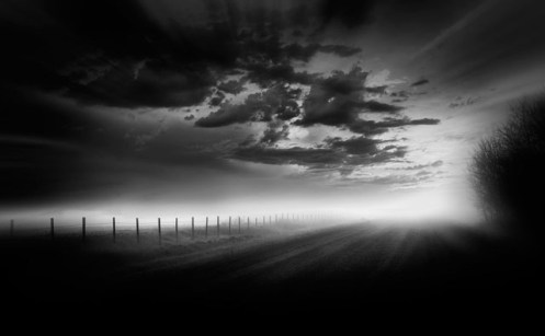 landscape, fineart, fine art, black and white, black & white, landscape, Alberta, Dan Jurak, gravel road, moody, foggy, dark, minimalist