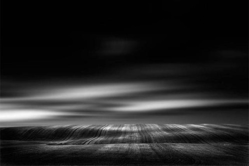 Dan Jurak, landscape, fine art, fineart, long exposure, minimalist, black and white, Alberta, crops, field, clouds, moody, dark,