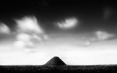 Dan Jurak, landscape, fineart, fine art, long exposure, black and white, poop, manure, clouds, sky, prairie, farm, rural,
