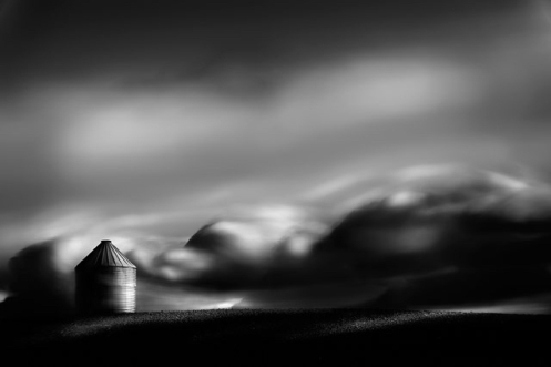 long exposure, black and white, fineart, fine art, landscape, Alberta, Dan Jurak, clouds, farm, prairie, silo,