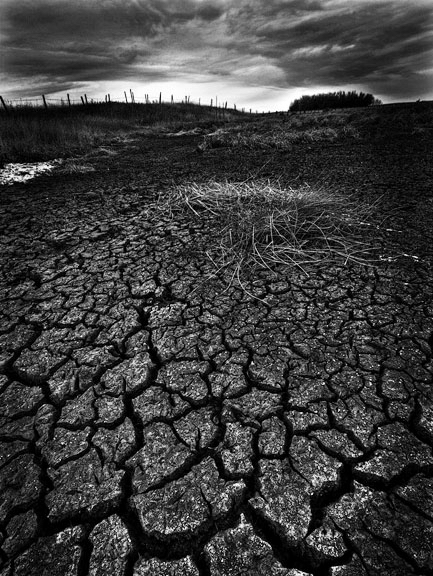 Dan Jurak, landscape, fineart, fine art, Alberta, black and white, low key, parched, dry, drought, prairie, storm, sky, long exposure,