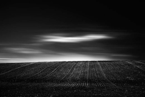 minimalist, long exposure, low key, black and white, Dan Jurak, landscape, fineart, fine art, prairie, rural, dark sky, crop, fields,