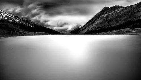 long exposure, minimalist, fineart, fine art, Jasper, Columbia Icefields, rockys, rockies, mountains, lake, clouds, storm, Dan Jurak,