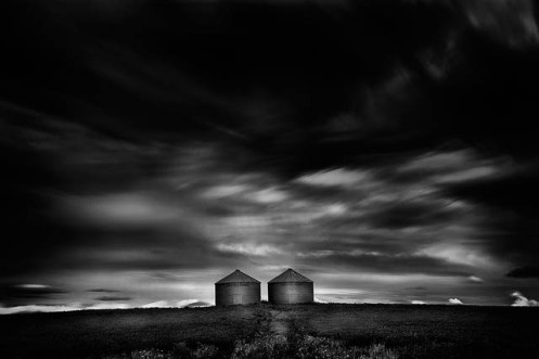 long exposure, landscape, black and white, minimalist, cloudy, low key, Dan Jurak, Alberta, farm, rural, #explorealberta,
