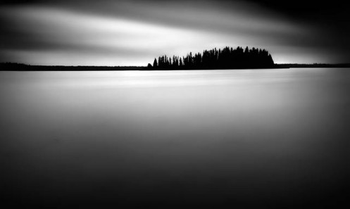 long exposure, Astotin Lake, Dan Jurak, low key, fineart, fine art, black and white, black & white, Elk Island, national park, rain, clouds, low key
