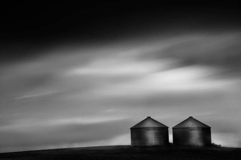 long exposure, grain bins, granary, landscape, long exposure, black and white, low key, prairie, landscape, Dan Jurak, clouds,