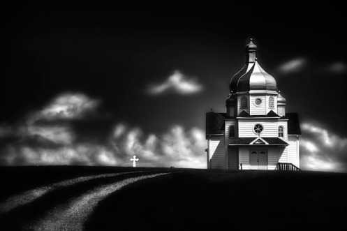 long exposure, low key, fineart, black and white, ukrainian church, greek orthodox church, prairie, landscape, Alberta, summer, clouds, cross, Dan Jurak, Alberta