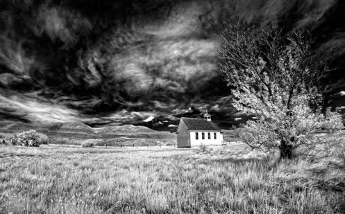church, infrared, dorothy, alberta, landscape, badlands, drumheller, Alberta, #explorealberta, infrared, black and white, prairie,