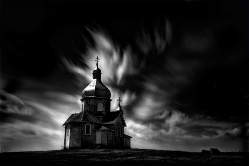long exposure, church, fineart, fine art, black and white, landscape, Alberta, low key, clouds, sky,, religion, Dan Jurak,