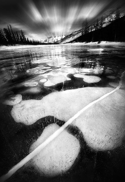 methane bubbles, frozen, ice, Abraham Lake not, Alberta, Dan Jurak, black and white, long exposure, monochrome, Jasper,
