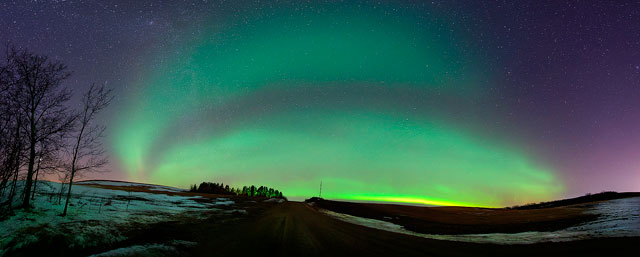 aurora borealis, panorama, northern lights, winter, night sky, snow, prairie, stars, landscape, astrophotography, prairie, Dan Jurak