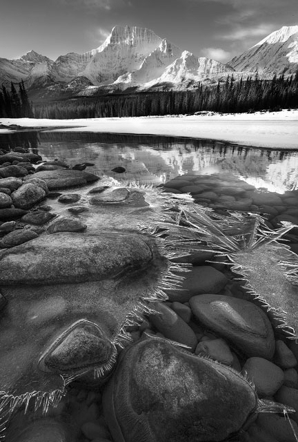 jasper, athabasca river, ice, winter, snow, water, river, mountains, black and white, monochrome, boulders, landscape, DAn Jurak,