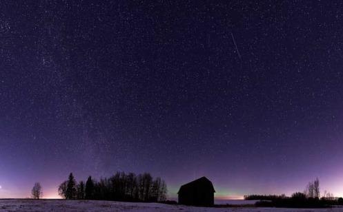 panorama, night sky, nightsky, aurora, milky way, stars, Dan Jurak, prairie, winter, barn,