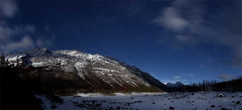 jasper, dan jurak, alberta, astrophotography, failure, stars, winter, snow, moon,