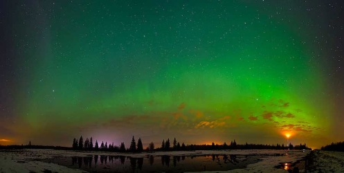aurora borealis, northern lights, panorama, Alberta, spring, Dan Jurak, night sky, long exposure,