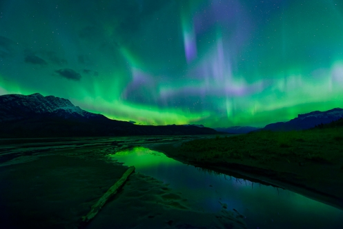aurora borealis, northern lights, aurora, Jasper, rockys, mountains, Athabasca River, night sky, Canada, Alberta, Landscape