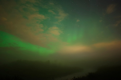 taken away, aurora borealis, northern lights, autumn, foggy, fog, landscape, long exposure, night time, stars, clouds, Dan Jurak, Alberta, autumn,
