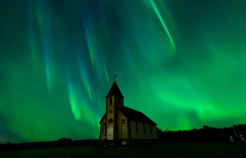 aurora borealis, aurora, northern lights, autumn, alberta, church, holy places, long exposure, Dan Jurak, heavenly landscape, stars, rural, countryside, long exposure, astrophotography