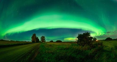 aurora borealis, aurora, northern lights, fisheye, landscape, Dan Jurak, Alberta, prairie, stars, long exposure,