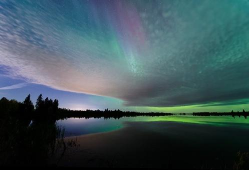 aurora borealis, aurora, northern lights, lake, reflection, clouds, landscape, Dan Jurak, Alberta, prairie, stars, long exposure,