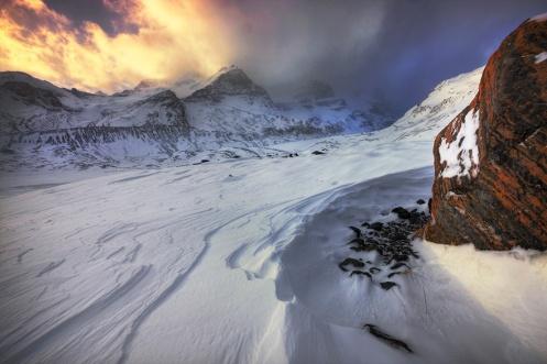 photoshopped skies, icefields, winter, jasper, national park, rockies, rockys, mountains, ice, snow, cold, landscape, Dan Jurak,