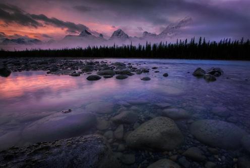 jasper, rockies, mountains, national parks, alberta, dan jurak, explore alberta, travel alberta, reflection, dawn, foggy,