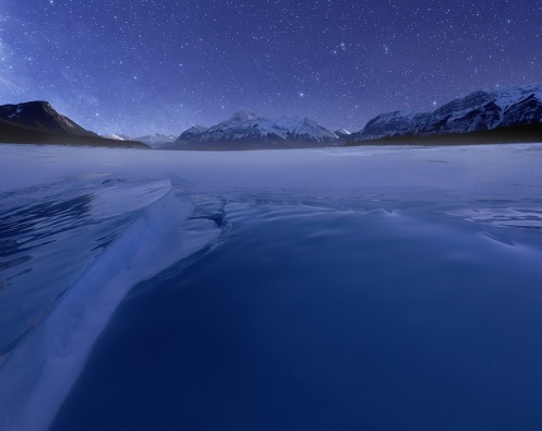 abraham lake, milky way, night shots, long exposure, winter, banff, rockies, landscape, Dan Jurak , photoshop trickery