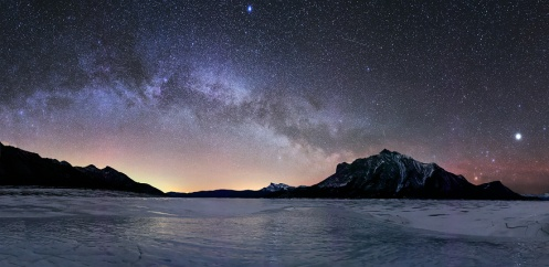 milky way, stars, long exposure, abraham lake, mount michener, mt. michener, night sky, ice bubbles, Dan Jurak, landscape, panorama,