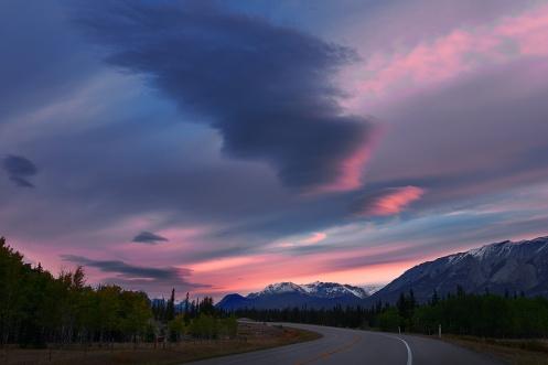 Nordegg, Abraham Lake, Hwy 11, dawn, autumn, landscape, highway, lenticular clouds, Dan Jurak, landscape,