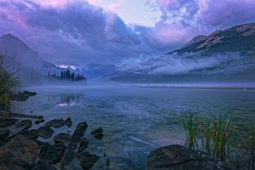 purple haze, jasper, jasper national park, fog, summer, mountains, rockies, processing, Dan Jurak, clouds, rockys, reflection, dawn,traveljasper, explore alberta,