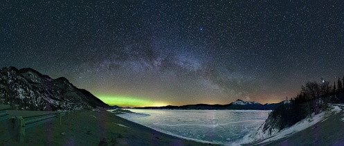 abraham lake, ice bubbles, nordegg, clearwater county, milky way, stars, northern lights, aurora borealis, aurora, Dan jurak, landscape,