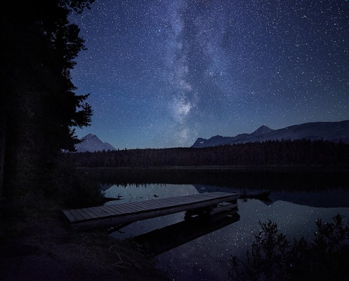 milky way, astrophotography, long exposure, reflection, jasper, dark sky, jasper dark sky, Dan Jurak, lake, stars, galaxy, travelalberta, tourismjasper, Alberta, mountains,