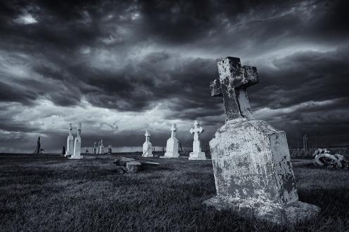 prairie, cemetery, storm, black and white, monochrome, stormy, dramatic, landscape, summer, Alberta, horizontal, Dan Jurak,