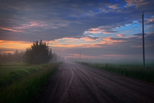 prairie, summer, road, rural, foggy, fog, Alberta, trees, farm, Dan Jurak, landscape, horizontal, camera equipment, Nikon, Sony, Canon, clouds, stormy,