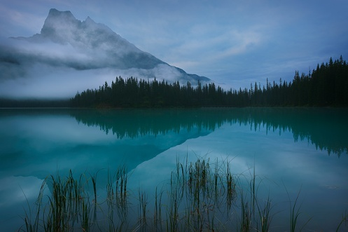 Emerald Lake, British Columbia,photography, landscape, foggy, summer, lake, reflection, clouds, moody, colour, trees, rockies, Canada, dan jurak, horizontal,
