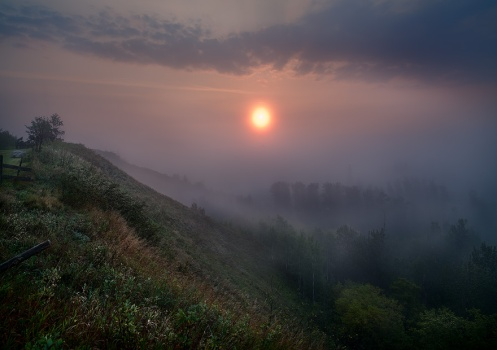 landscape, foggy, alberta, prairie, horizontal, summer, sunrise, dawn, dan jurak, clouds,