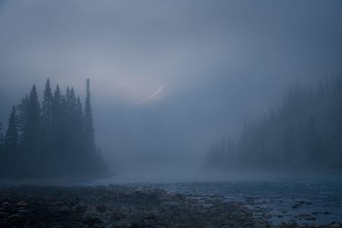Banff, mountains, landscape, rockys, fog, foggy, river, forest, trees, spirituality, life, death, Dan Jurak, Alberta,