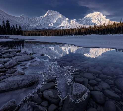 winter, clothing, dressing for winter, alberta, jasper, dan jurak, landscape, photography, landscape, reflection,